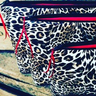 Wild Leopard wash bags in three sizes from BathingBellesStore on Etsy