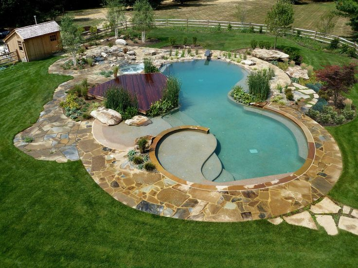 35 best natural swimming pond images on pinterest for Natural swimming pool designs
