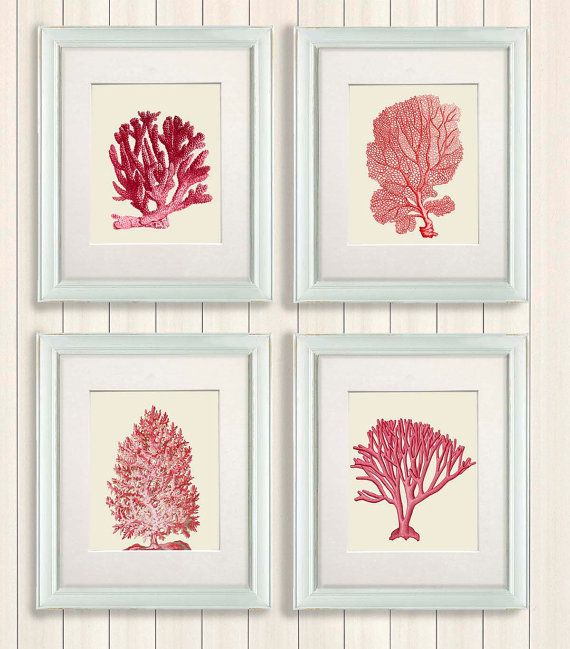 Red Coral Home Decor: Set 4 Red Coral Art Prints Nautical Print