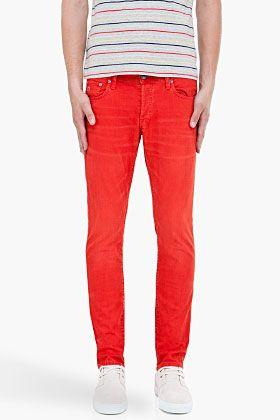 G-Star red 3301 super slim jeans for men | SSENSE