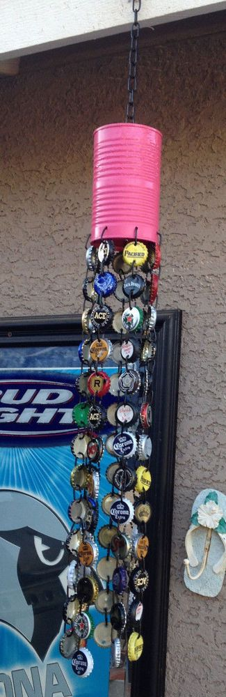 Painted Tin Can Base? Tuna Can? - Handmade Custom Bottle Cap Wind Chimes #Handmade
