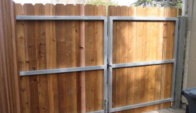 Home Ideas For Gt Wood Fence Double Gate Backyard