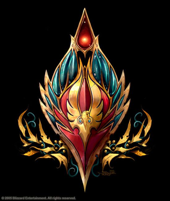 The Icon of Blood is the racial crest of the blood elves, and symbolizes their fall and subsequent rise during Third War. The drop of blood represents their bretheren who fell to the Scourge, while the phoenix on the shield represents their own survival and return to power in Quel'Thalas. The golden leaves likely represent the forests of Eversong Woods.