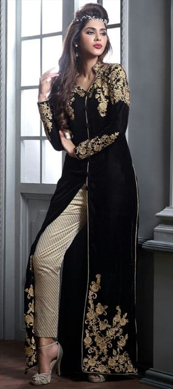 446426 Black and Grey  color family Party Wear Salwar Kameez in Velvet fabric with Machine Embroidery work .
