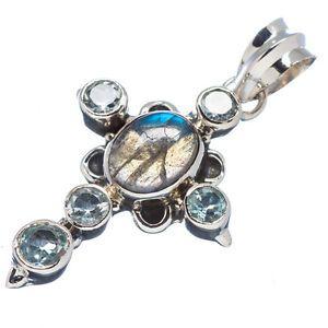 #Labradorite, Blue Topaz Cross Sterling Silver #Pendant