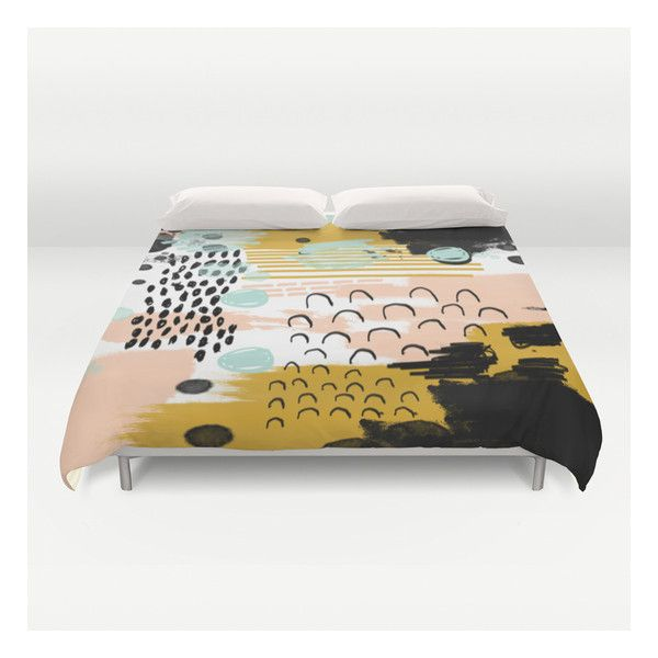 Ames - Abstract Painting In Free Style With Modern… Duvet Cover ($129) ❤ liked on Polyvore featuring home, bed & bath, bedding, duvet covers, patterned bedding, queen bedding, lightweight duvet, queen duvet and king duvet insert