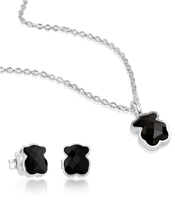 """Tous Sterling Silver Teddy Bear Necklace & Earrings Set 