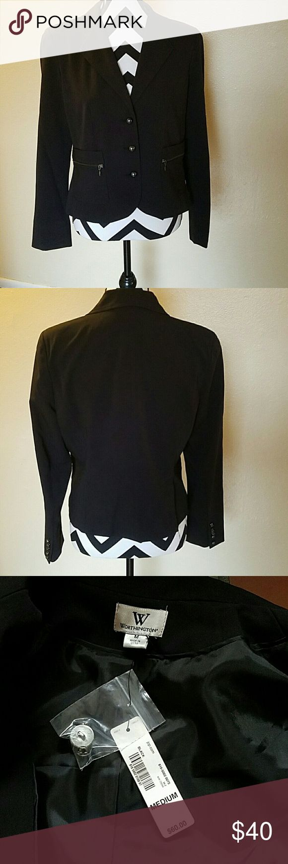 NWT Worthington Suit Jacket/Blazer NWT, size medium, solid black button down suit jacket.  You can pair it pretty much with anything. Worthington Jackets & Coats