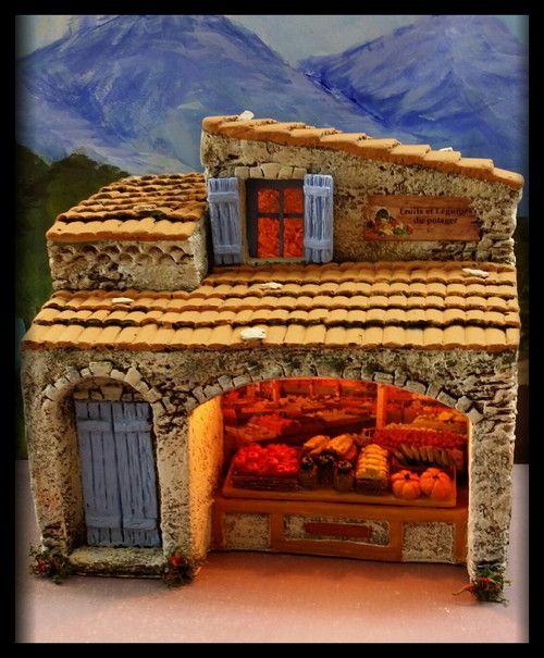 Santons Atelier de Fanny-Santons et Crèches de Noël-Santons de Provence - Magasin fruits et légumes - 54.00 EUR