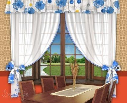 Купить комплект занавесок для кухни с ламбрекеном ЭШЛИ голубые ромашки от производителя РеалТекс (Россия)
