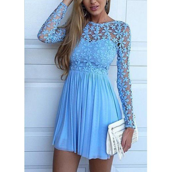 $15.43 Fashionable Round Neck Lace Splicing Hollow Out Crochet Mini Dress For Women