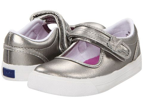 Keds Kids Ella MJ (Toddler/Little Kid) Metallic leather upper features floral adornment on the strap.$32.00