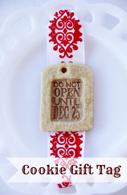 Easy idea for a fun way to decorate a package.  Make an edible cookie tag!  thistlewoodfarms.com