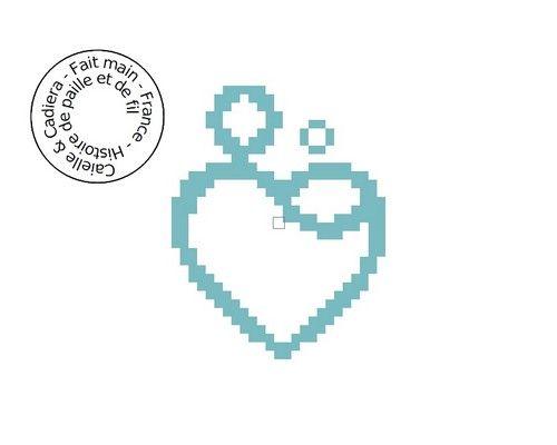 Grille gratuite point de croix - Coeur maman enfant