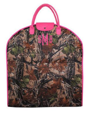 A personal favorite from my Etsy shop https://www.etsy.com/listing/242758315/monogrammed-ladies-garment-bag-camo