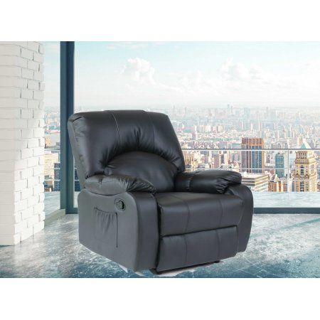 Allen Black Faux Leather Heated Manual Recliner With 6 Way