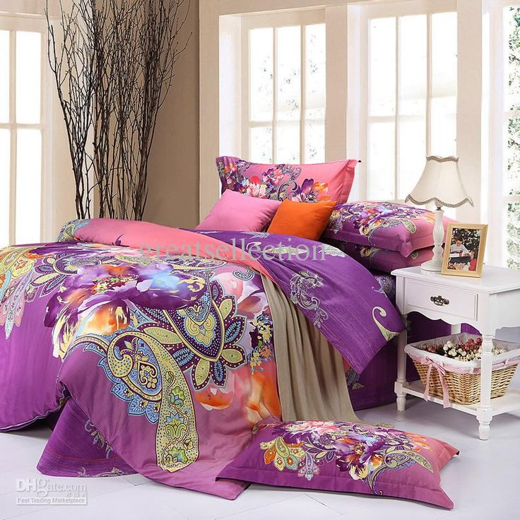 Wholesale Elegant Queen King Size Bedding Set Purple