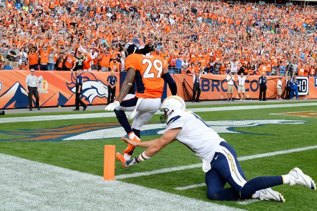 Chargers vs. Broncos:  October 30, 2016  -  27-19, Broncos  -       Bradley Roby (29) of the Denver Broncos returns an interception of a pass by Philip Rivers (17) of the San Diego Chargers for a touchdown during the second quarter on Sunday, Oct. 30, 2016. The Denver Broncos hosted the San Diego Chargers.