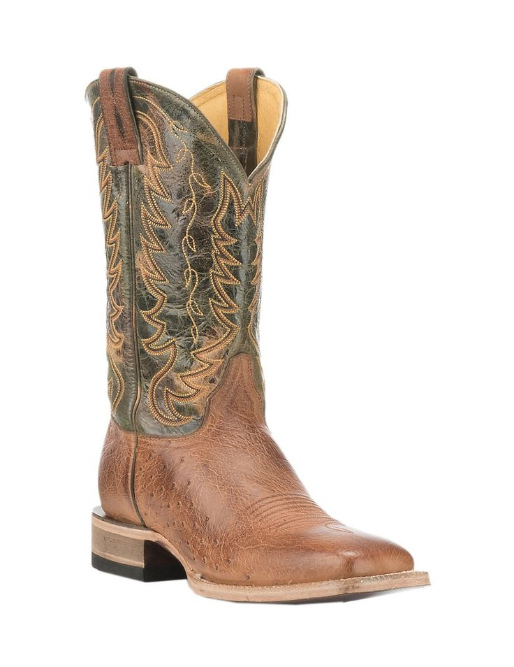 by Old Gringo Men's Burnished Tan Smooth Ostrich with Green Upper Exotic  Square Toe Boots