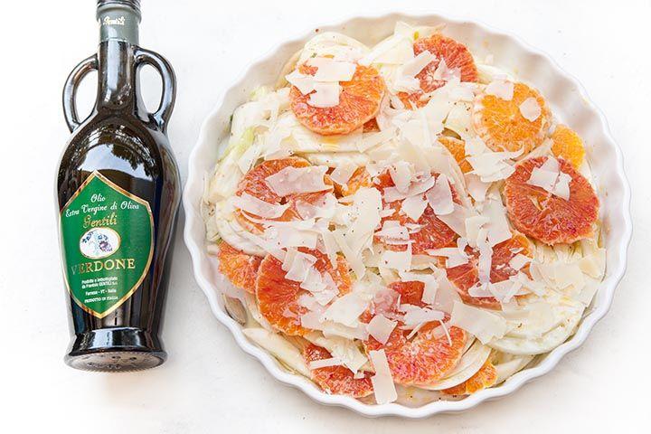 Insalata di finocchi con arance grana e zenzero