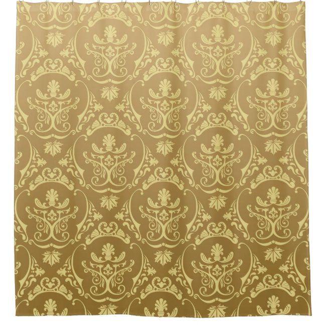 Gold Vintage Antique Damasks Victorian Pattern Shower Curtain Zazzle Com In 2020 Victorian Pattern Vintage Gold Wallpaper Background Vintage