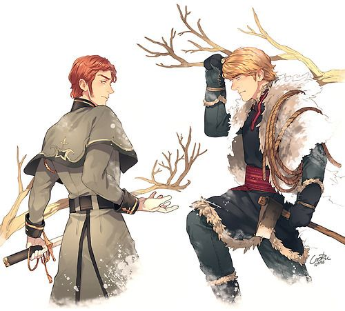 riseofthefrozentangledguardians:  Prince Hans of the Southern IslesandKristoff Bjorgman. I'm in love with prince Hans. That's it.