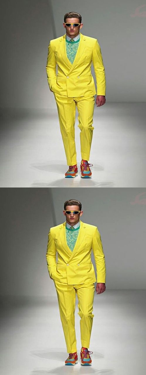 Double Breasted Suit 2017 Stylish Yellow Paris Fashion Show Suits Men's Formal Occasion Wear Topic Party Men Tuxedos(Cost+Pants)