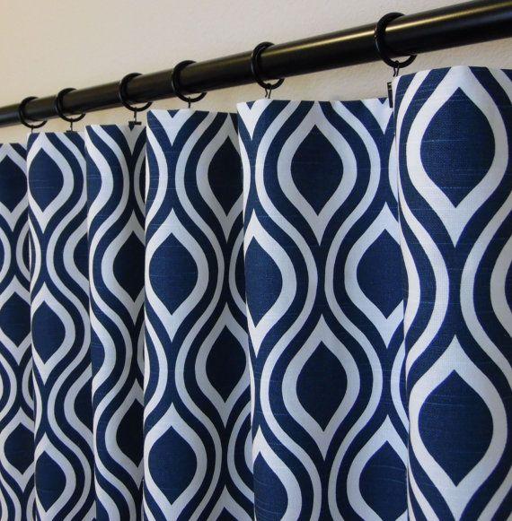 Nicole Slub Premier Navy And White Curtains 50 X 63 72 84 90 96 108 Drapery Panels