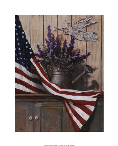 Flag with Purple Flowers