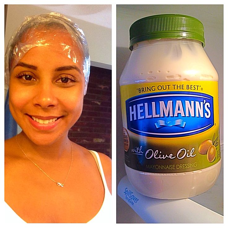 Mayonnaise hair treatment. Apply mayo, apply cling wrap, apply heat to hair and let it sit for 30-45 minutes. So simple and only $3. Perfect for curly heat damaged hair! Winning!!!