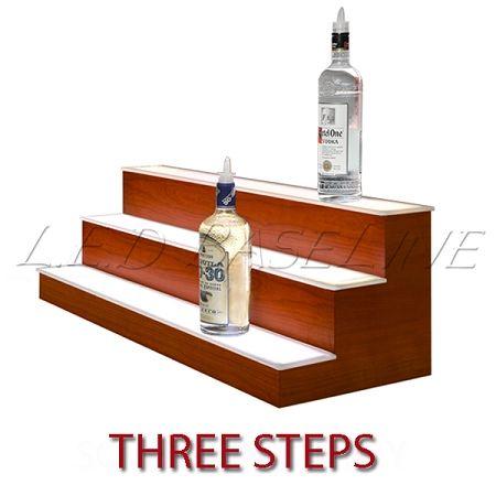 Led lighted bar shelf three steps liquor display for Diy liquor bar