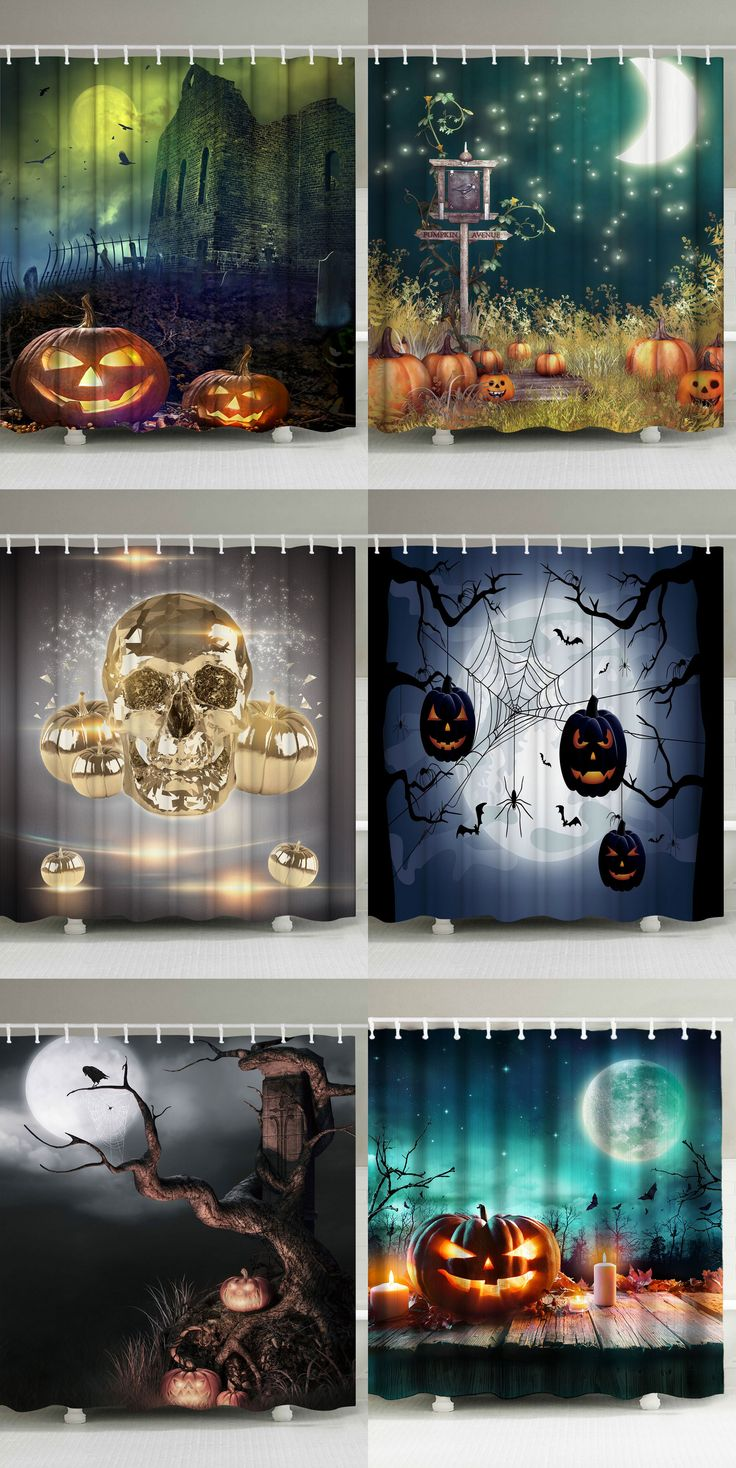 Halloween Shower Curtains.  I want one...