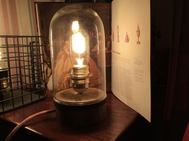Lampe industrielle Acier et bois : Luminaires par en-bord-de-loire