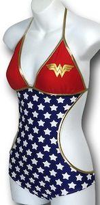 Wonder Woman monokini. One piece bathing suit in the front bikini in the back.