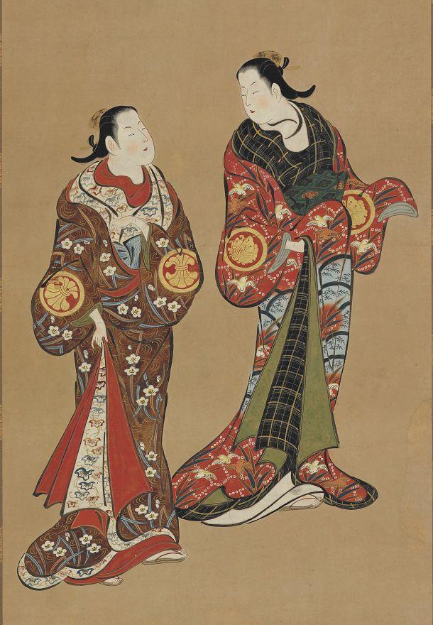 """thekimonogallery: """"Две высокие женщины в темных одеждах.  Цвет и золото на темном бумаге.  О начале 19 века, Япония.  Подарок Charles Lang свободнее.  Свободнее галерея искусств и Артура М. Саклера Галерея """""""