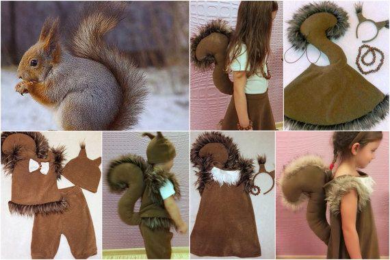 Eine Eichhörnchen-Mädchen-Kostüm aus weichem Fl…