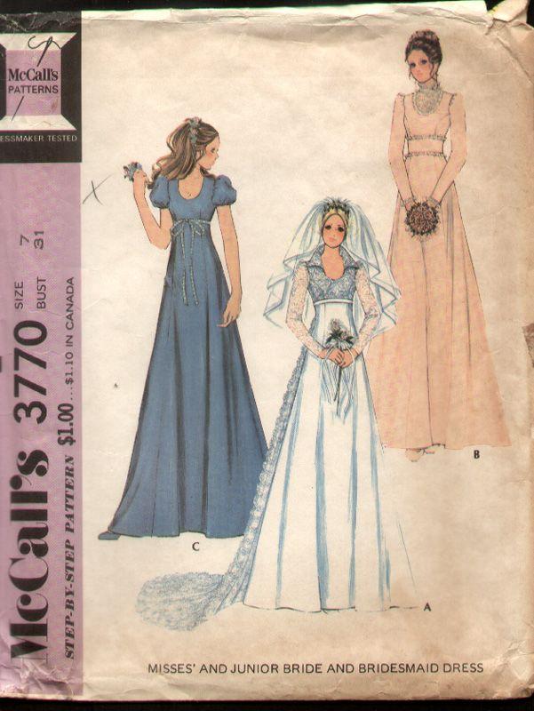 Mccalls 3770 vintage 1970s princess wedding bridal dress for Vintage princess wedding dress