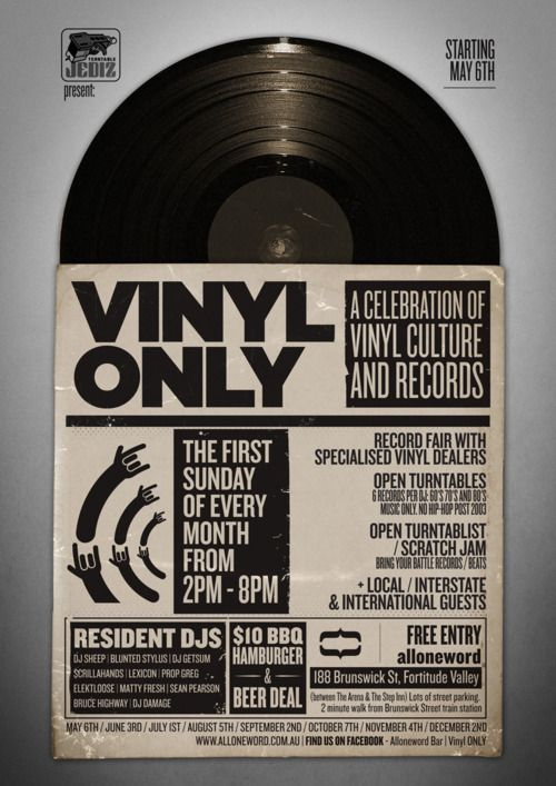 Poster Design For Record Fair - Vinyl Only hosted at Alloneword