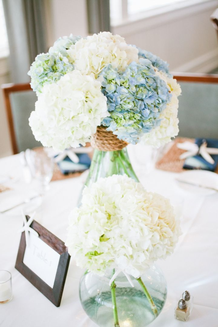 Nautical Wedding Centerpiece.  Pinned by Afloral.com from http://theeverylastdetail.com/ ~Afloral.com has high-quality hydrangeas in blues, greens and creams for your DIY floral arrangements.