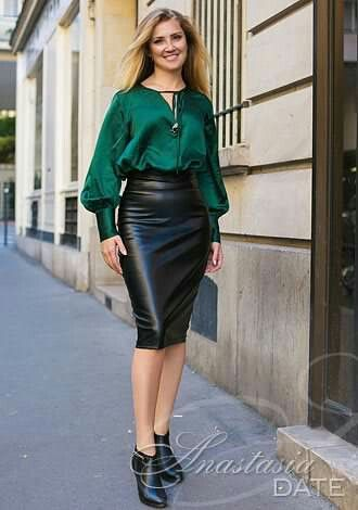Black leather pencil skirt and ankle boots