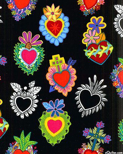 Folklorico - Corazones Primavera - Black US $10.95