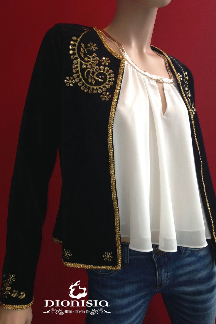 Saco de terciopelo bordado