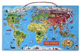 "Janod Пазл ""Магнитная карта мира"" на английском языке"