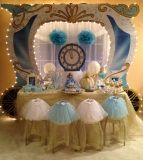 Cinderella Theme Princess Birthday Party to Go Box includes: sparkling princess tutus, jeweled tiaras, magic wands, jewelry sets, Cinderella party crafts, party favors, princess party games and activities guide.