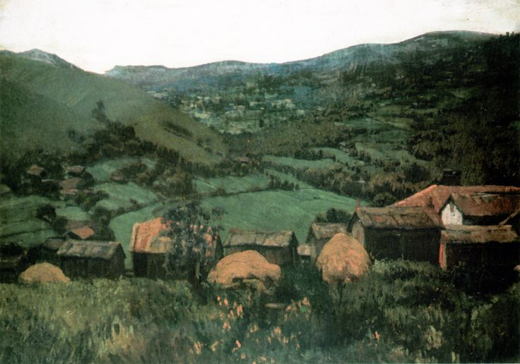 Lugar aldeán, ca. 1922-29. Óleo sobre cartón. 37,5 x 52 cm. Museo de Pontevedra
