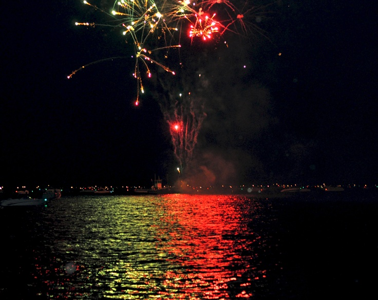 Fireworks and reflections;Lake George, NY