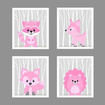 Woodland Animals in Pink Raccoon Hedgehog Fox Deer CUSTOMIZE COLORS, 8x10 Prints, set of 4, Nursery Decor Print Art Baby Room Baby Girl