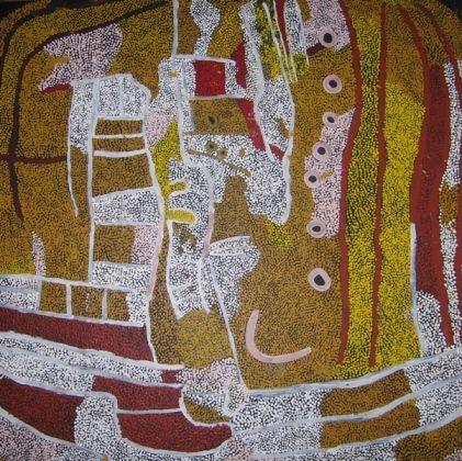Nyumitja Laidlaw, Untitled, acrylic on Belgian linen, 158 x 158 cm., High on Art gallery, Melbourne (Armadale).