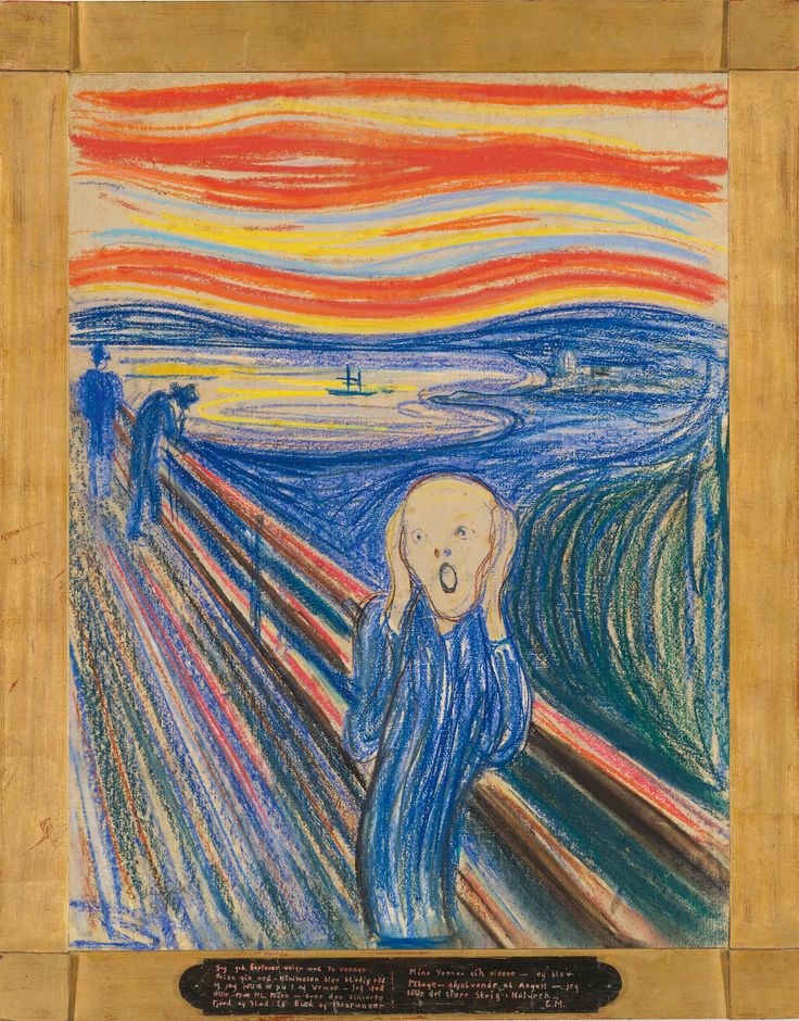 Edvard Munch Scream | Edvard Munch (Norwegian, 1863-1944). The Scream. Pastel on board, 1895 ...
