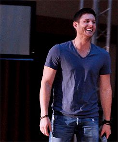 Jensen Ackles laughing (gif) WORTH IT. This man is so gosh darn attractive. just.... unfair.